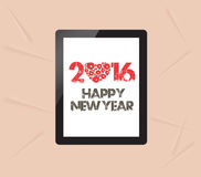 Happy new year with greeting card in tablet Stock Photography