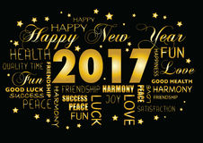 Happy New year 2017 greeting card - tagcloud. Happy New year 2017 greeting card ,tagcloud stock illustration