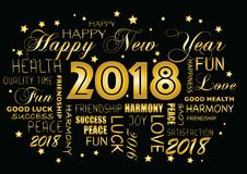 Happy New year 2018 greeting card - tagcloud.  royalty free illustration