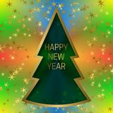 Happy New Year greeting card template on colorful blended background with glittering stars and christmas tree frame.  Stock Photos