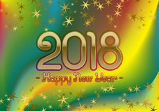 2018 Happy New Year greeting card template on colorful blended background with glittering stars.  Stock Image