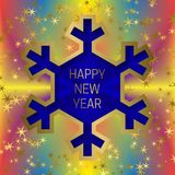 Happy New Year greeting card template on colorful blended background with glittering stars and snowflake frame.  Stock Photo