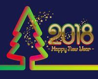 2018 Happy New Year greeting card template with fluid colors christmas tree silhouette and glittering stars.  Stock Photography