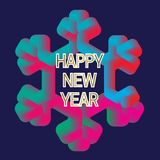 Happy New Year greeting card template with fluid colors snowflake frame.  Royalty Free Stock Photography