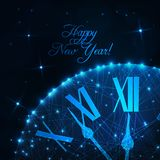 Happy New Year greeting card with glowing low poly roman numeral clock on dark blue background. Happy New Year greeting card template with glowing low poly vector illustration