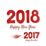 Happy New Year 2017- 2018 greeting card template. Happy New Year 2017- 2018 template for poster, brochure, greeting card or flyer. Red design isolated on white Stock Photography