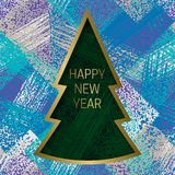 Happy New Year greeting card templates on grunge texture background with Christmas tree frame Stock Photography