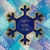 Happy New Year greeting card templates on grunge texture background with snowflake frame.  Royalty Free Stock Photo