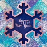 Happy New Year greeting card templates on grunge texture background with snowflake frame.  Royalty Free Stock Image