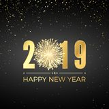 Happy New Year 2019. Greeting card text design. New Years banner with golden numbers and firework. Vector illustration.  stock illustration
