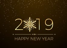 Happy New Year 2019. Greeting card text design. New Years banner with golden numbers and snowflake. Vector. Illustration vector illustration
