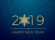 Happy New Year 2019. Greeting card text design. New Years banner with golden numbers and snowflake. Vector. Illustration isolated on blue background stock illustration