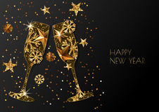 Happy New Year  greeting card with two gold champagne glass. Background with golden stars and snowflakes. Happy New Year  greeting card with two gold champagne Stock Photo