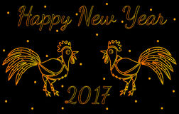 Happy New Year greeting card with two gold Rooster. On black background Stock Photos