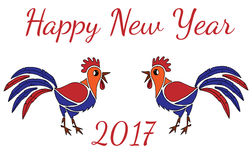 Happy New Year greeting card with two Rooster. On white background Stock Photos