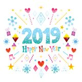 Happy New Year 2019 greeting card. Happy New Year 2019 - two thousand nineteen - greeting card, it`s really nice Stock Photo