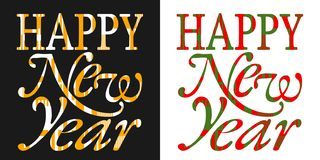 Happy new year greeting card, new year typography stock illustration