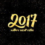 Happy New Year 2017 greeting card vector design. Happy New Year 2017 gold calligraphic text on black background with confetti texture. Greeting card design with stock illustration