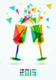 Happy New Year 2015 Greeting Card vector illustration.  Stock Photo