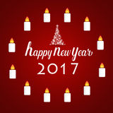 Happy new year 2017 Greeting Card, vector illustration.  Stock Images