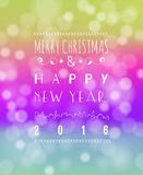 Happy New Year Greeting Card. Vector illustration. Blurred background with lights Royalty Free Stock Photos