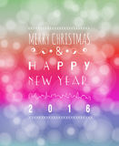 Happy New Year Greeting Card. Vector illustration. Blurred background with lights Stock Images