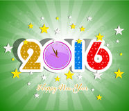 Happy New Year 2016 greeting card. Vector illustration design elements royalty free illustration