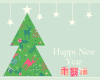 Happy New Year greeting card, vector illustration Stock Images