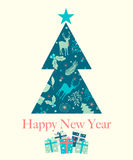 Happy New Year greeting card, vector illustration Royalty Free Stock Photo