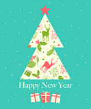 Happy New Year greeting card, vector illustration Stock Image