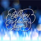 Happy New Year greeting card. Vector lettering illustration with. Blurred glowing background Vector Illustration