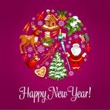 Happy New Year greeting card. Happy New Year. Vector greeting card with round shape circle of winter christmas holiday symbols christmas tree ornaments, santa Royalty Free Stock Image