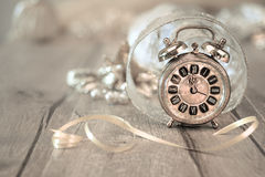 Happy New Year! Greeting card with vintage alarm clock Stock Photo