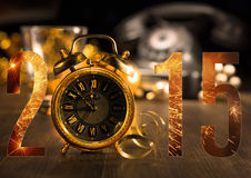 Happy New Year 2015! Greeting card with vintage alarm clock Royalty Free Stock Image
