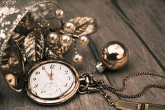 Happy New Year 2015! Greeting card with vintage pocket clock Stock Image