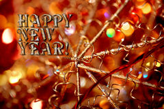 Happy New Year greeting card with vintage shabby decoration close-up Royalty Free Stock Photo