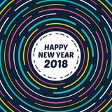Happy New Year 2018 Greeting Card Vortex Neon Retro Style. Image and Vector Stock Image
