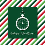 Happy New Year greeting card with watch on stripped background in traditional Christmas colors. Happy New Year greeting card with watch Stock Image