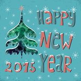 Happy New Year Greeting Card with watercolor Christmas tree , snowflakes red star and text Happy New Year,  illustration. Stock Photos