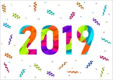 2019 Happy New Year greeting card  with colorful confetti. 2019 Happy New Year greeting card on white background with colorful confetti. Vector  polygonal Royalty Free Stock Photography