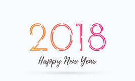 2018 Happy New Year greeting card background vector wish text design. 2018 Happy New Year greeting card on white background with trendy creative numbers and wish Stock Image