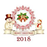 Postcard Happy New Year with snowmen on a white background. Vector illustration. Royalty Free Stock Image