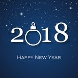 2018 Happy New Year greeting card. With white Christmas ball Stock Photos