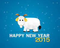Happy New Year Greeting Card. White Goat Royalty Free Stock Photos