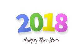 2018 Happy New Year greeting card background vector color numbers design. 2018 Happy New Year greeting card on white premium background. Trendy creative color Royalty Free Stock Photo