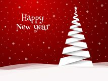 Happy New Year greeting card. White tree. Royalty Free Stock Photography
