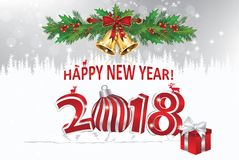 Happy New Year 2018! - greeting card with silver background. Happy New Year 2018! - greeting card with winter landscape as a background Royalty Free Stock Photos