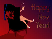 Happy New Year 2014 greeting card. Woman sitting in an armchair, holding a glass of champagne, New Year greeting card template royalty free illustration