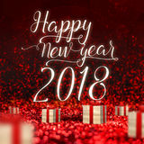 Happy New Year 2018 greeting card and wood present box at red sp stock images