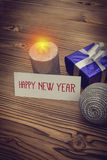 Happy new year greeting card with xmas decoration Stock Images